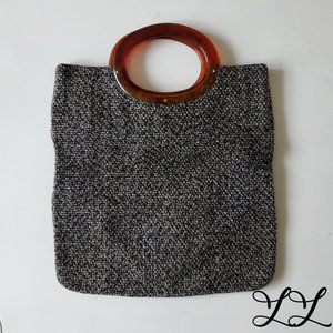Vintage Bag 1970s Small Black Gray Weave Purse